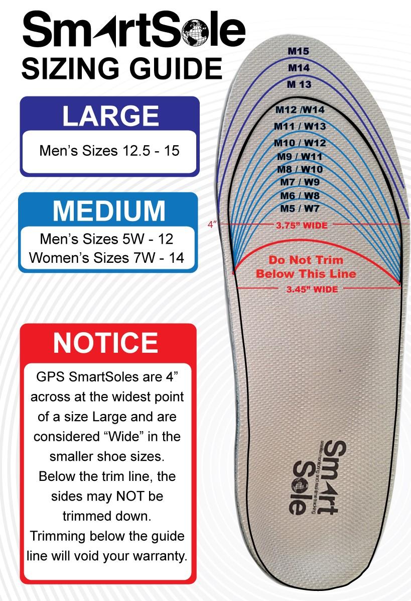 SmartSole Size Chart